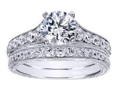2.00 quilates Diamante, corte redondo, Juegos de novia Anillos de ...