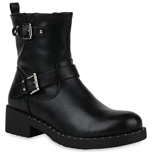 Stiefelparadies Damen Biker Boots Nieten Stiefeletten Metallic Leicht Gefüttert Flandell Schwarz Nieten Carlet