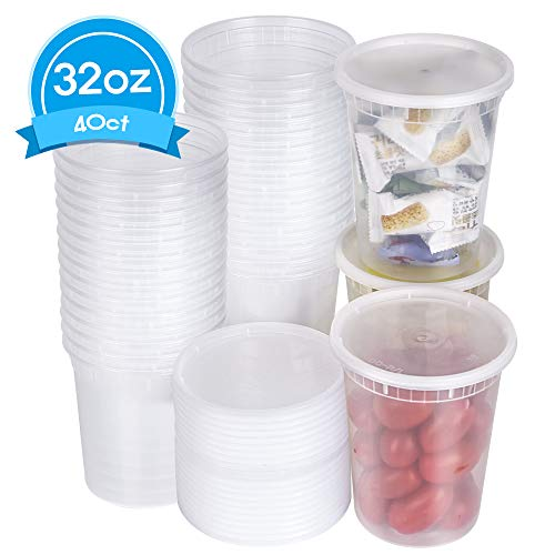 [TashiBox] 32 oz Food Storage Containers with Airtight Lids, Deli Cups, Leak-Proof,Stackable & Reusable - 40 -