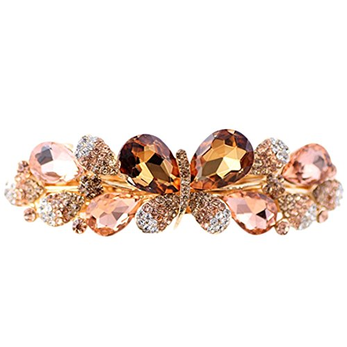 - Sunward Fashion Women Girls Butterfly Rhinestone Hairpin Barrettes Summer Joker Hair Clip Headwear Wedding Accessories Gift (Gold)