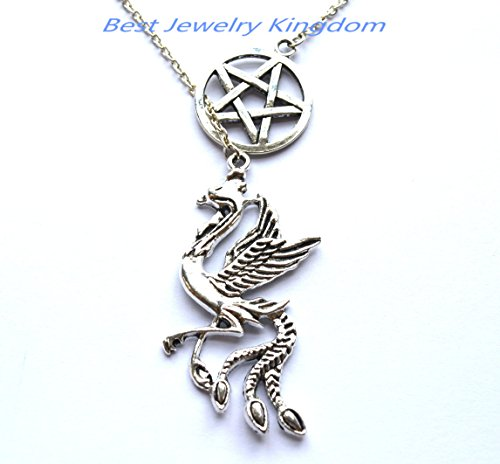 Silver Pentagram Necklace,Handmade Jewelry,Phoenix necklace Phoenix pendant Phoenix jewelry Fantasy - Glasses Phoenix Cheap