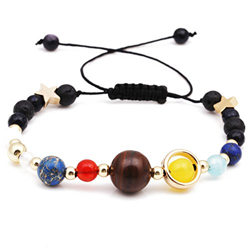 Rhungift Natural Stone Bracelet Eight Planetary Chains of The Solar System Protection Brace Lace (Drawstring)