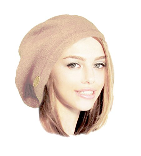 Women's Wool French Beret Slouch Hat Tam in Beautiful Soft Beige! ShariRose (Light beige)