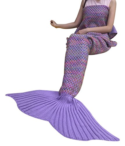 "DDMY Mermaid Tail Blanket Knitted Handmade Crochet For kids Teens Adult All Seasons Sleeping Warm Soft Snuggly Living Room Quilt, 72.8""x35.2"", Purpl…"