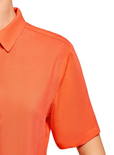Orange Courtes Ultra Chemisier avec 5500n en Femme Manches Viscose oodji PApZT