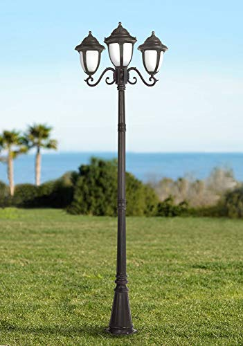 Casa Sorrento Traditional Outdoor Post Light Street Lantern 3 Light Bronze Scroll 90 1/2