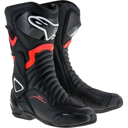 (Alpinestars SMX-6 V2 Drystar Mens Motorcycle Boots - Black/Red - 43)