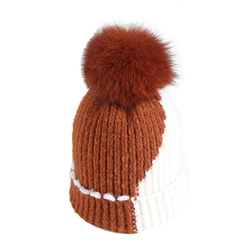 xsby Womens Winter Soft Knitted Beanie Hat with Faux Fur Pom Pom Adult Yellow and White - Beanie 09