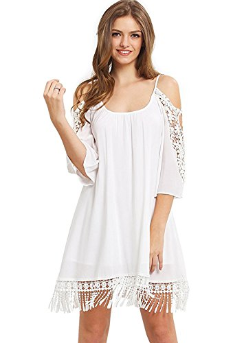 [Milumia Women's Summer Cold Shoulder Crochet Lace Sleeve Loose Beach Dress White M] (Hippie Dress)