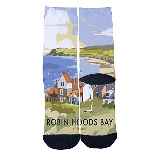 (Customized Yorkshire Robin Hoods Bay travel poster Socks Men's Women's Socks Unique Casual Crew Socks Black)