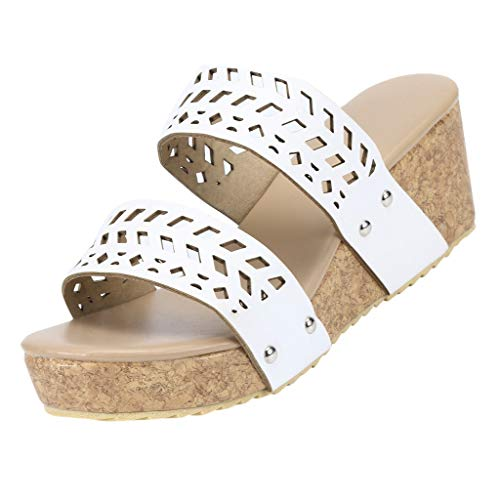 Diamante Spoiler - Realdo Women Plus Size Wedge Sandals with Platform Summer Fashion Hollow Out No Heel Shoes