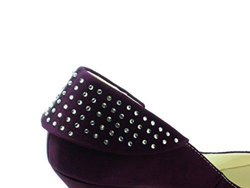 Minitoo Sparkle 8cm Heel Heel Evening Inch Pumps Closed Shoes Wedding Satin Purple Bridal Party GYAYL407 Womens 3 Toe 7HT7fa
