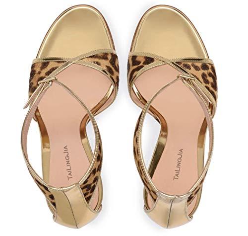 Scarpe Spillo Shiney Moda Banchetto Leopardata A Fibbia Tacco Punta Femminile Stampa Con Leopardprint qETPAE