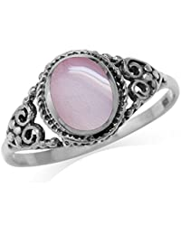 Pink Mother Of Pearl Inlay 925 Sterling Silver Filigree Victorian Style Ring