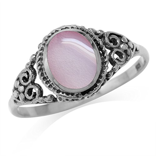 Pink Mother Of Pearl Inlay 925 Sterling Silver Filigree Victorian Style Ring Size 9.5
