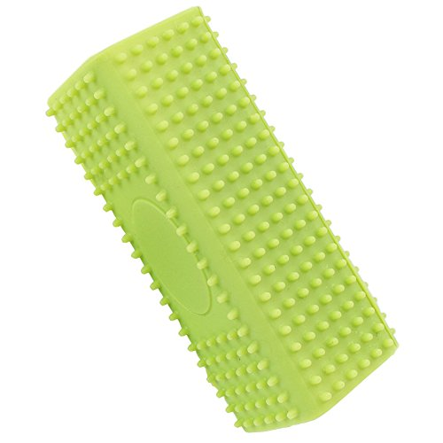 - Pet Soft Silicone Rubber Curry Comb Pet Grooming Brushes for Short Hair Cats and Dogs (green)