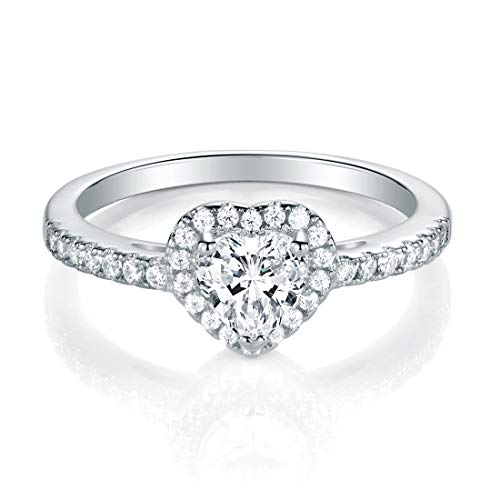 MDFUN Luxurious White Gold Plated Cubic Zirconia Infinity Love Solitaire Promise Eternity Ring (8) (Ring Girlfriend)