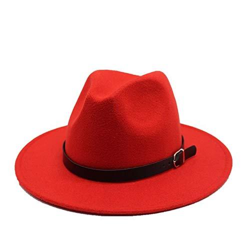 KKONION Fedora Hats Unisex for Winter Autumn ElegantLady Floppy Cloche Wide Brim Jazz Caps Red