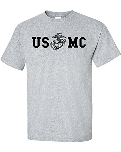 Marine Corps Bull Dog Front and Back Premium Men's T-Shirt (Small, Sports Grey)