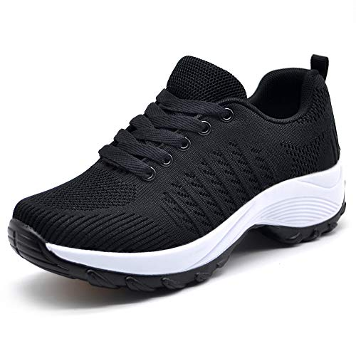(HKR Womens Athletic Knit Running Shoes Casual Breathable Mesh Tennis Walking Sneakers Black 7(ZJW1856heise38))
