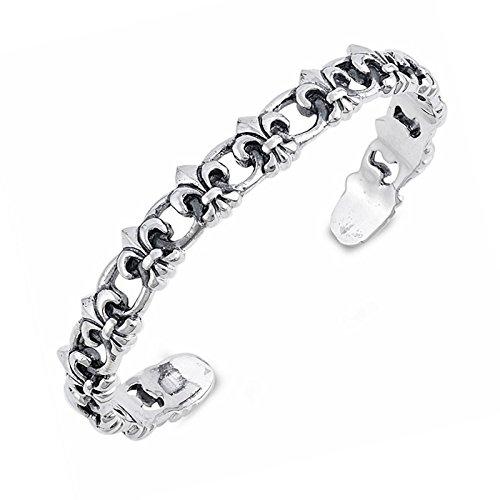 Fleur-De-Lis Pattern Solid Sterling Silver Adjustable Bracelet Cuff (Fleur De Lis Pattern Bracelet)
