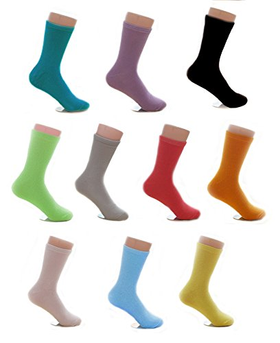 - 10 Pair Socks Combed Cotton Casual Spring & Autumn Sock Crew Solid Color For Girl Women Size 5 6 7 8 9