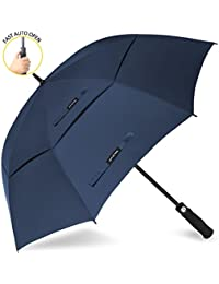 Golf Umbrella Windproof Large 62/68 inch Double Canopy Automatic Open Umbrella for Men - Vented Sun umbrella - Stick Umbrellas by