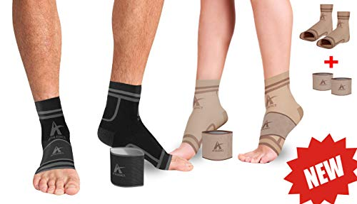 Plantar Fasciitis Socks + Arch Support Compression Sleeves for 24/7 Comfort & Pain Relief of Achy Feet, Heel & PF - Better Than Night Splint Brace - for Men & Women (Nude, S/M)