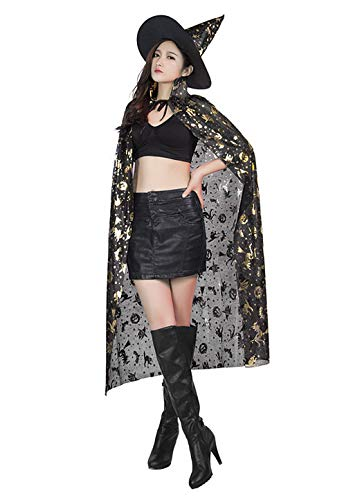 Halloween Dress up Witch Cloak and Hat Pumpkin Print Wizard Cosplay Costume Cape -