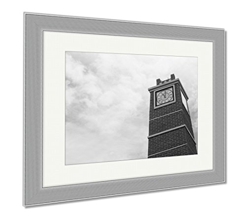 Ashley Framed Prints Ancient Clock Tower In Italy Europe Old Stone, Wall Art Home Decoration, Black/White, 34x40 (frame size), Silver Frame, AG5901343 by Ashley Framed Prints