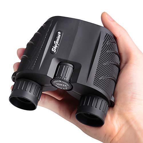 SkyGenius 10x25 Compact Binoculars for Adults, High Powered Binoculars Pocket for Concerts, Theater, Travel, BK4 Roof Prism FMC Lens Kid Binoculars for Bird Watching (0.53lb)