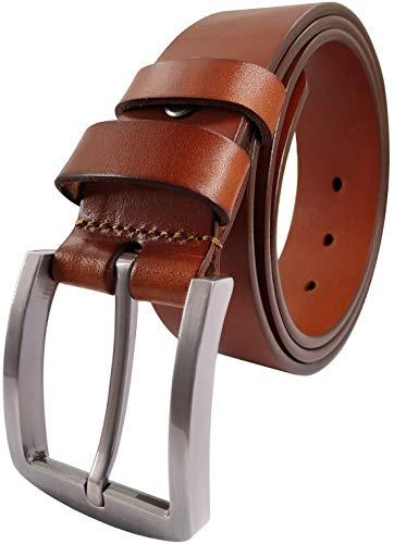 Ledamon Men's 100% Full Grain Leather Belt Durable Genuine Leather Belt 1.5