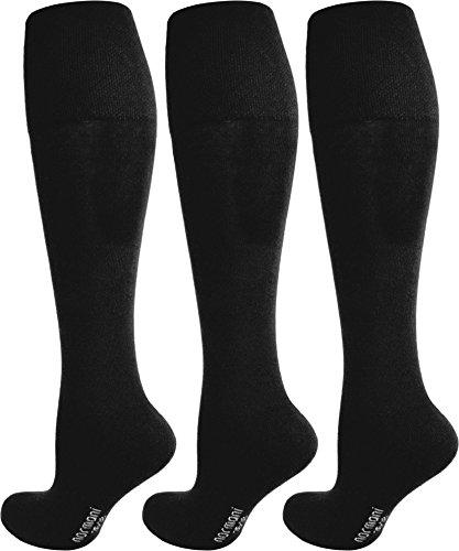 3 Paar Original normani® Business-Kniestrümpfe, Baumwolle mit Elasthan, ohne Gummidruck Farbe Schwarz ohne Frotteesohle Größe 43/46