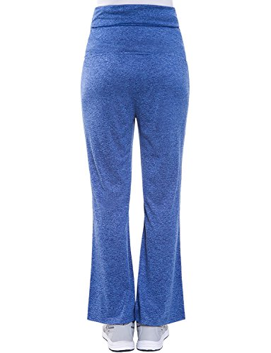 Bhome Women's Fold Over Waist Stretch Yoga Pants Boot Cut Flare Leg Workout Maternity Leggings Navy Blue L by Bhome (Image #2)