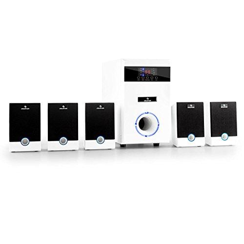 Auna 5.1-JW Surround Lautsprecher Set aktives Heimkino Lautsprechersystem mit Fernbedienung (95 Watt RMS, AUX, Sleeptimer, Pianolack-Front, LED-Lichteffekt) weiß