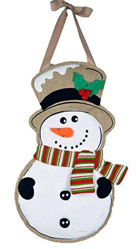 - JEC Home Goods Snowman Door Decorations - Wall Hanging or Door Hanger - Large 18x11 Size - Christmas Door Decor - Burlap Long Lasting Design
