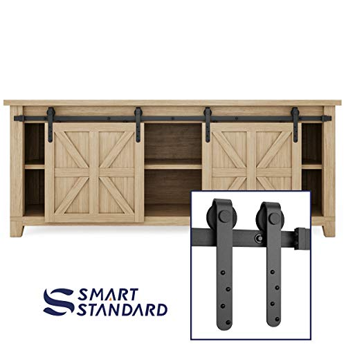 SMARTSTANDARD 7FT Mini Sliding Barn Door Hardware Track Kit -Super Smoothly and Quietly -Used for Double Opening Cabinet, TV Stand, Closet, Window -Fit 21 Wide Door Panel -J Shape Hanger (NO Cabinet)