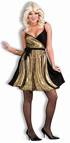 Forum Novelties Women's 70's Disco Fever Deluxe Disco Gold Costume Dress, Multi, One (Saturday Night Fever Costumes Female)