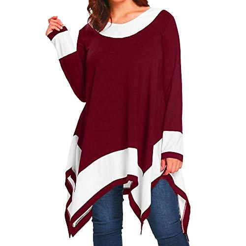 Toimothcn Women Oversized Irregular Hem Pullover Tops Long Sleeve Patchwork Shirt Blouse Plus Size(Red,XXXXL) ()