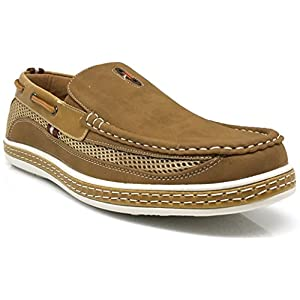 DC9N Men's Fall Summer Light Weight Casual Fit Classic Fashion Slip On Loafers Boat Shoes (9, Tan)