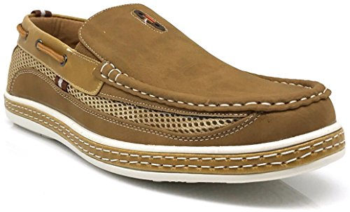 Enzo Romeo Dcn9 Mens Estate Leggero Casual Fit Classico Moda Slip On Mocassini Scarpe Da Barca Tan