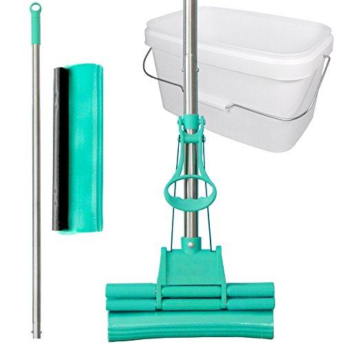 GREEN MOP Set 20-02 --- Green Mop 20 cm + Stiel + Ersatzschwammm + 10 Liter Eimer in weiß -- Doppelwringer Mop saugstarker Wischmop PVA Bodenwischer - Brestol