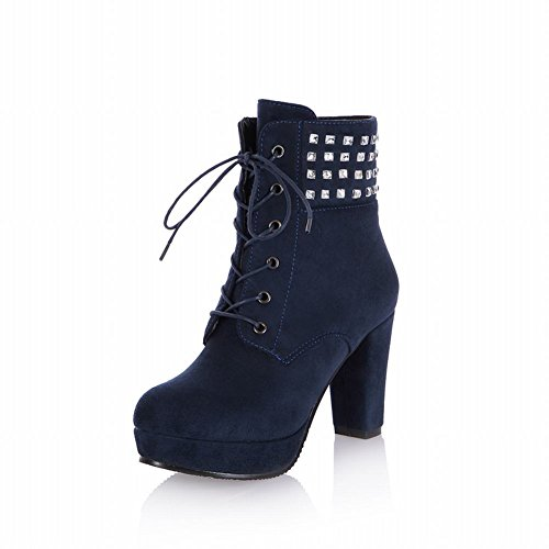 Latasa Womens Studded Lace-up High-heel Platform Ankle-high Nubuck Boots Blue 5b9T6H73F