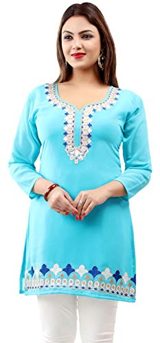 (Embroidered Indian Clothing Women's Tunic Top Kurti Blouse (Blue, M))