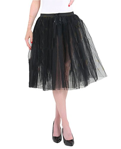 25 3 Pouces Black Longue Femmes Fancy Fashions Couche Taille Wear Jupe Jupe Tutu 3 Une Couche Islander Dames Party txqXwEpnHp