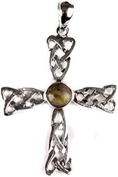 Celtic Desire Jewellery Colgante de cruz celta de plata con piedra de mármol Connemara en el centro.
