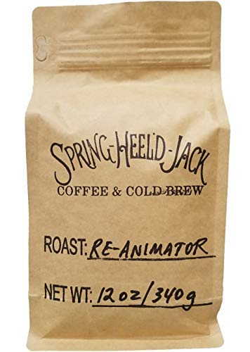 Wood Roasted Coffee - Spring-Heel'd Jack's Roasted Coffee - Four Separate Blends Made with Single-Source Arabica Coffee Beans (12-ounce resealable bags) - Ground or Whole Bean (Re-Animator, Ground)