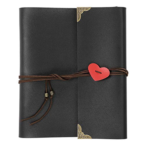 OwnMy DIY Photo Album Scrapbook PU Leather Adventure Photo Book with Corner Stickers Gifted Box - Perfect Baby Memory Book Birthday Wedding Anniversary (Black)