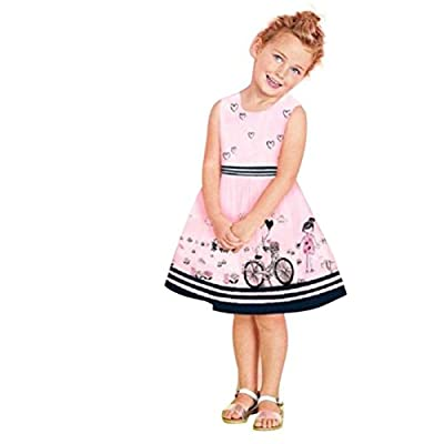 Usstore 1PC Girls Children Pink Giving Tree Cartoon Sleeveless Wedding Dress