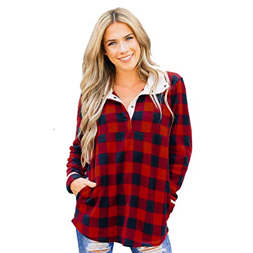 Clearence Women's Shirt KpopBaby Casual Long Sleeve Button Down Plaid Sweater Top Pullover Blouse (Red2, M) ()